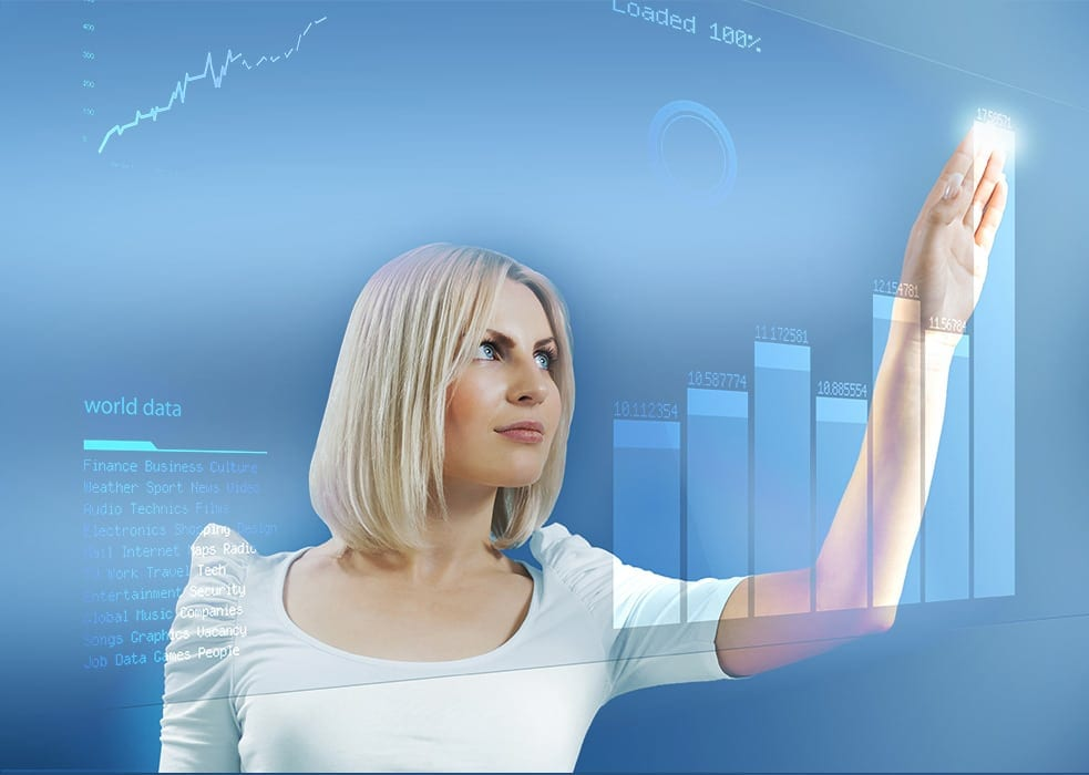 woman, data, graph, analytics